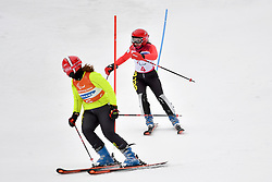 SANA Eleonor B2 BEL Guide: SANA Chloe competing in the ParaSkiAlpin, Para Alpine Skiing, Slalom at the PyeongChang2018 Winter Paralympic Games, South Korea.
