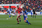 Rotherham United player Michael Smith (24) and Bristol Rovers defender Luke Leahy (11)  during the EFL Sky Bet League 1 match between Rotherham United and Bristol Rovers at the AESSEAL New York Stadium, Rotherham, England on 18 January 2020.