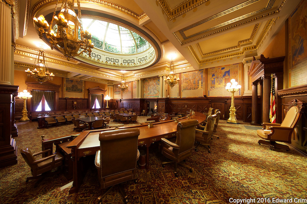A view from behind the justices' bench of the Supreme Court chamber in the Pennsylvania capitol in Harrisburg.