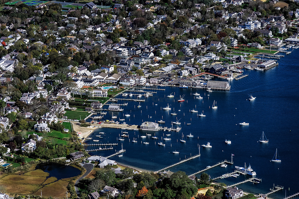 Aerial view of Edgartown harbor, Martha's Vineyard, Massachusetts, USA