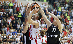 BELGRADE (SERBIA), March 2, 2017  Crvena Zvezda's Marko Guduric (C) vies with Brose Bamberg's Daniel Theis (L) and Patrick Heckmann (R) during Regular Season Round 24 Euroleague basketbal match between Crvena Zvezda and Brose Bamberg in Belgrade on March 2, 2017. Crvena Zvezda won 74:60  (Credit Image: © Predrag Milosavljevic/Xinhua via ZUMA Wire)