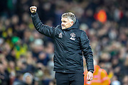 Manchester United Manager Ole Gunnar Solskjaer thanks fans at full time during the Premier League match between Norwich City and Manchester United at Carrow Road, Norwich, England on 27 October 2019.