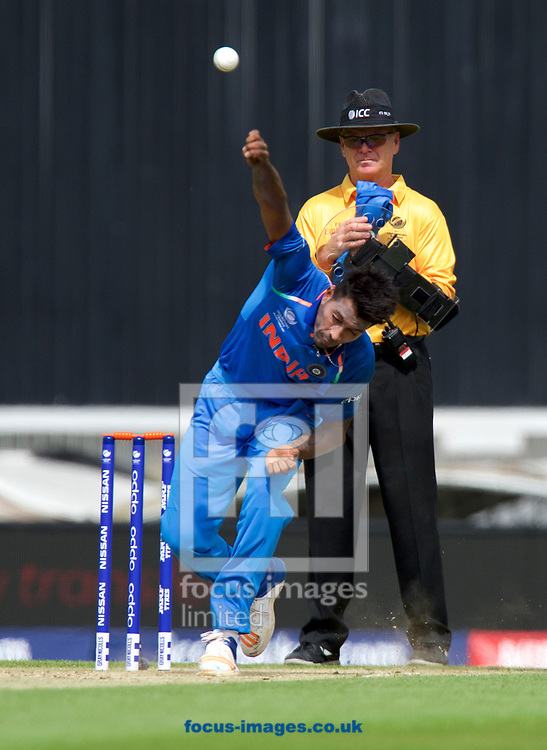 Bowler Hardik Pandya of India during the 2017 ICC Champions Trophy warm up match at the Kia Oval, London<br /> Picture by Alan Stanford/Focus Images Ltd +44 7915 056117<br /> 28/05/2017