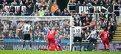 19.10.2013, St. James Park, New Castle, ENG, Premier League, ENG, Premier League, Newcastle United vs FC Liverpool, 8. Runde, im Bild Newcastle United's Paul Dummett celebrates scoring the second goal against Liverpool // during the English Premier League 8th round match between Newcastle United and Liverpool FC St. James Park in New Castle, Great Britain on 2013/10/19. EXPA Pictures © 2013, PhotoCredit: EXPA/ Propagandaphoto/ David Rawcliffe<br /> <br /> *****ATTENTION - OUT of ENG, GBR*****