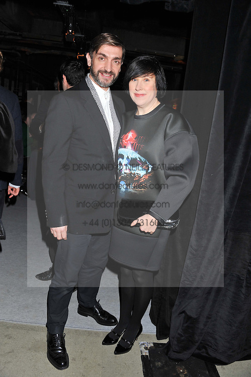 DAVID WADDINGTON and ALICE RAWSTHORN at a dinner hosted by Jonathan Saunders, Fantastic Man & Selfridges to celebrate Jonathan Saunders AW13 Menswear collection and London Collections held at the Old Selfridges Hotel,  Orchard Street, London on 8th January 2013.