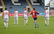 Dundee&rsquo;s Rory Loy races back after scoring his side's second goal from the penalty spot - Dundee v Ross County - Ladbrokes Premiership at Dens Park<br /> <br />  <br />  - &copy; David Young - www.davidyoungphoto.co.uk - email: davidyoungphoto@gmail.com