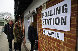 © London News Pictures. 28/02/2013 . Eastleigh, UK. People entering  a polling station in Eastleigh, Hampshire to vote in the Eastleigh by-election on  Thursday, Feb. 28, 2013. The seat became vacant when Chris Hihne resigned following his guilty plea to a charge of perverting the course of justice. Photo credit : Ben Cawthra/LNP
