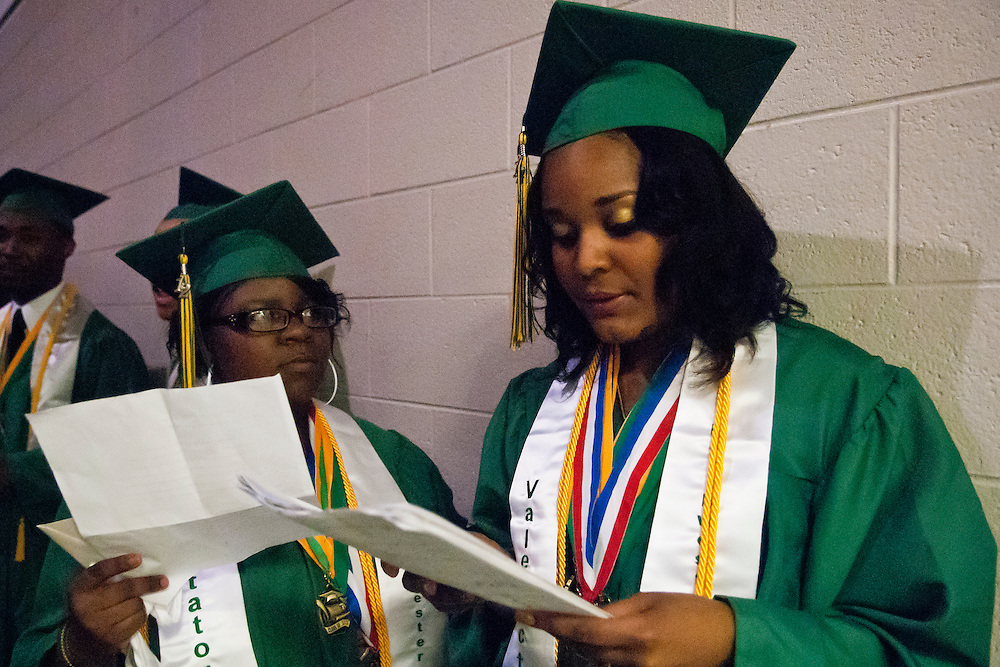 Lathan Goumas | MLive.com..Northwestern High School graduates Demia Elam-Williams, 17, and Jasmine Dean, 18, practice their speeches before the 2012 Flint Community Schools commencement ceremony at the Perani Arena in Flint, Mich. on Tuesday June 5, 2012.