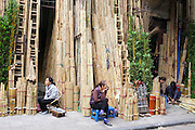 © Licensed to London News Pictures. 30/12/2011. A store selling bamboo in a street in Hanoi,  Vietnam. Photo credit : Stephen Simpson/LNP