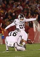 25 OCTOBER 2008: Texas A&M kicker Randy Bullock (28) in the second half of an NCAA college football game between Iowa State and Texas A&M, at Jack Trice Stadium in Ames, Iowa on Saturday Oct. 25, 2008. Texas A&M beat Iowa State 49-35.