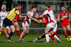 Bristol Rugby Lock Tom Ellis is tackled by  Ulster Ravens Lock Alan O'Connor and Flanker Willie Faloon (capt) - Mandatory byline: Rogan Thomson/JMP - 13/11/2015 - RUGBY UNION - Kingspan Stadium - Belfast, Northern Ireland - Ulster Ravens v Bristol Rugby - The British & Irish Cup Pool 2.
