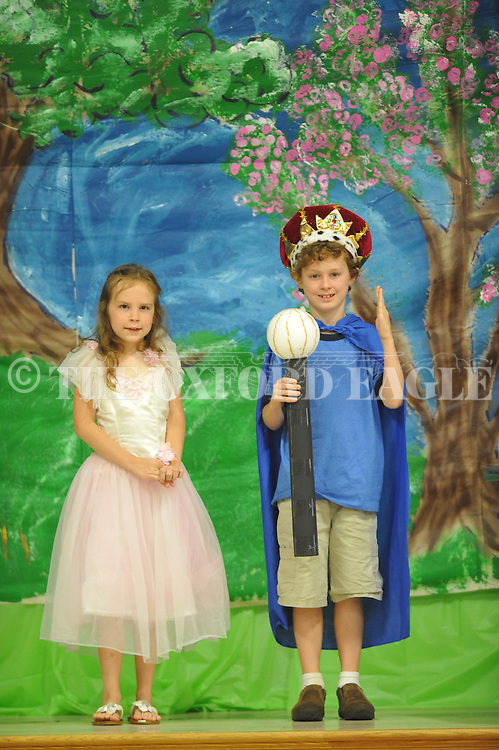 "Eli Nordstrom and Millie Greene in ""Slurping Beauty"" at Oxford Elementary in Oxford, Miss. on Monday, May 20, 2013. Students did plays based upon seven fairy tales."