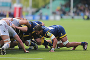 Worcester Warriors Chris Vui  Flanker (6) in the scrum first half during the Aviva Premiership match between Worcester Warriors and Bath Rugby at Sixways Stadium, Worcester, United Kingdom on 15 April 2017. Photo by Gary Learmonth.