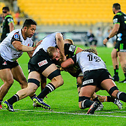 Brad Shields (captain) tackled during the Super Rugby union game between Hurricanes and Sunwolves, played at Westpac Stadium, Wellington, New Zealand on 27 April 2018.   Hurricanes won 43-15.