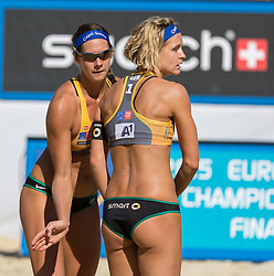 31.07.2015, Strandbad, Klagenfurt, AUT, A1 Beachvolleyball EM 2015, im Bild Laura Ludwig 1 GER / Kira Walkenhorst 2 GER // during of the A1 Beachvolleyball European Championship at the Strandbad Klagenfurt, Austria on 2015/07/31. EXPA Pictures © 2015, EXPA Pictures © 2015, PhotoCredit: EXPA/ Mag. Gert Steinthaler