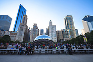 The Cloud Gate in Grant Park and the Chicago skyline view