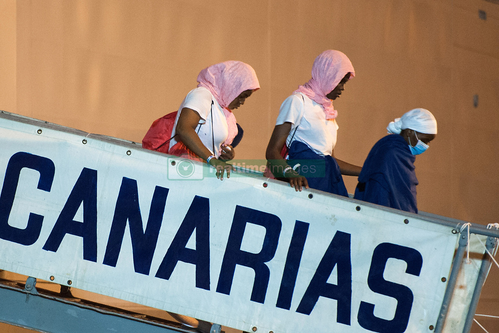 June 19, 2017 - Salerno, Campania, Italy - Salerno: migrants landed saved in the Sicilian canal and in international waters in front of the Libyan coasts. On board of Spanish ship ''Canarias'' 526 migrants from Ghana, Sudan, Senegal, Gambia, Mali, Nigeria and Togo. On board 53 women and 19 children. (Credit Image: © Ivan Romano/Pacific Press via ZUMA Wire)