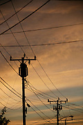 Power lines at sunset