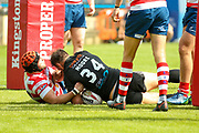 Bradford Bulls hooker Scott Moore (34) goes over to score the second try during the Kingstone Press Championship match between Oldham RLFC and Bradford Bulls at Bower Fold, Oldham, United Kingdom on 13 August 2017. Photo by Simon Davies.