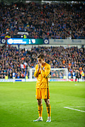 Radoslaw Majecki (#1) of Legia Warsaw looks disconsolate after losing 1-0 in the Europa League Play Off leg 2 of 2 match between Rangers FC and Legia Warsaw at Ibrox Stadium, Glasgow, Scotland on 29 August 2019.