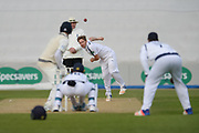 Liam Dawson of Hampshire bowling to Adam Voges during the Specsavers County Champ Div 1 match between Hampshire County Cricket Club and Middlesex County Cricket Club at the Ageas Bowl, Southampton, United Kingdom on 16 April 2017. Photo by David Vokes.