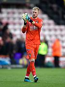 Aaron Ramsdale (12) of AFC Bournemouth applauds the fans at full time during the Premier League match between Bournemouth and Norwich City at the Vitality Stadium, Bournemouth, England on 19 October 2019.