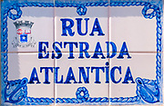 Painted Ceramic tiles sign of Rua Estrada Atlantica (Atlantic Road) Sao Martinho do Porto, Portugal