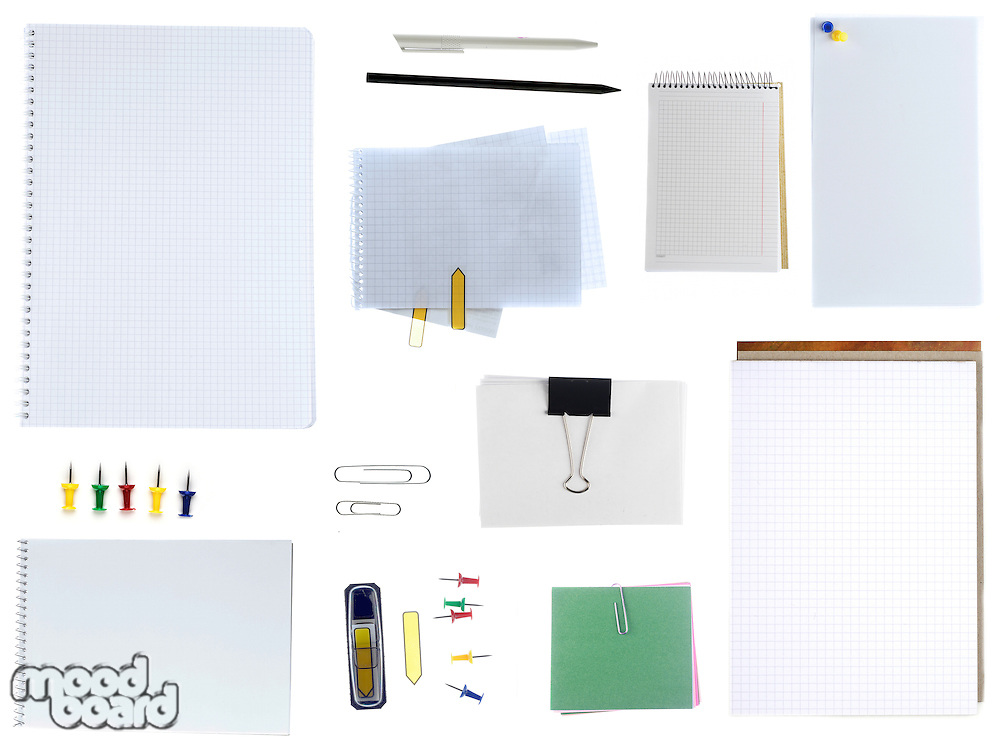 Office items on white background