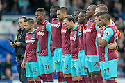 West Ham players before the Premier League match between Everton and West Ham United at Goodison Park, Liverpool, England on 30 October 2016. Photo by Mark P Doherty.