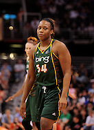 Aug 20, 2010; Phoenix, AZ, USA; Seattle Storm forward Le'coe Willingham (34) reacts on the court while playing the Phoenix Mercury at US Airways Center. The Storm defeated the Mercury 78-73.  Mandatory Credit: Jennifer Stewart-US PRESSWIRE
