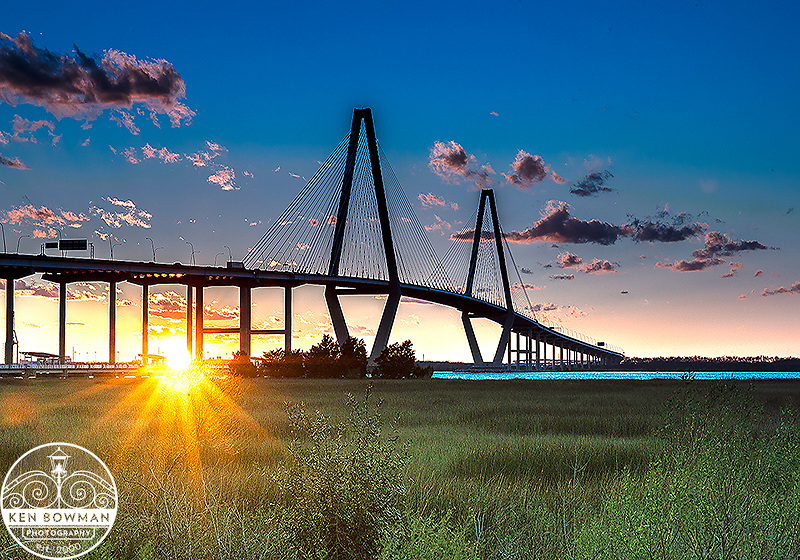 Ravenel Bridge sunset #5 from Mt. Pleasant Waterfront Park.
