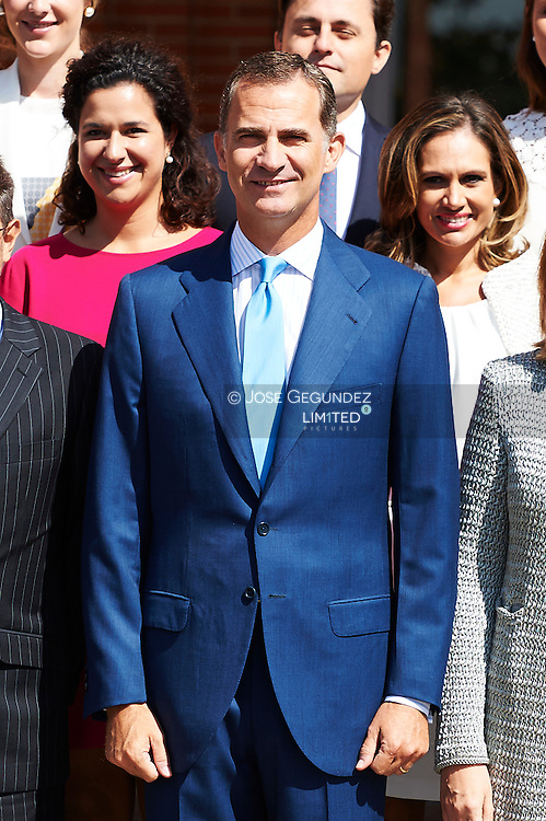 King Felipe VI of Spain attends an audience to the latest promotions of Notaries and Property Registrars, Commercial and Personal Property at Palacio de la Zarzuela on September 3, 2015