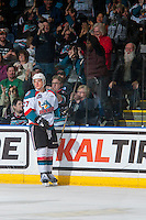 KELOWNA, CANADA - FEBRUARY 13: Calvin Thurkauf #27 of the Kelowna Rockets celebrates a third period goal against the Seattle Thunderbirds on February 13, 2017 at Prospera Place in Kelowna, British Columbia, Canada.  (Photo by Marissa Baecker/Shoot the Breeze)  *** Local Caption ***