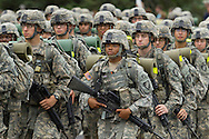 West Point, New York - New cadets march back from Beast Barracks at Camp Buckner to the United States Military Academy at West Point on Aug. 12, 2014. The 12-mile mach back to West Point marks the end of Cadet Basic Training for the Class of 2018.