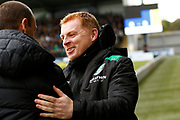 Oran Kearney of St Mirren greets Hibernian FC Manager Neil Lennon before kickoff at the Ladbrokes Scottish Premiership match between St Mirren and Hibernian at the Simple Digital Arena, Paisley, Scotland on 29th September 2018.