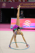 Alexandra Agiurgiuculese, Italy, during day one of the 33rd European Rhythmic Gymnastics at Papp Laszlo Budapest Sports Arena, Budapest, Hungary on 19 May 2017. Photo by Myriam Cawston.