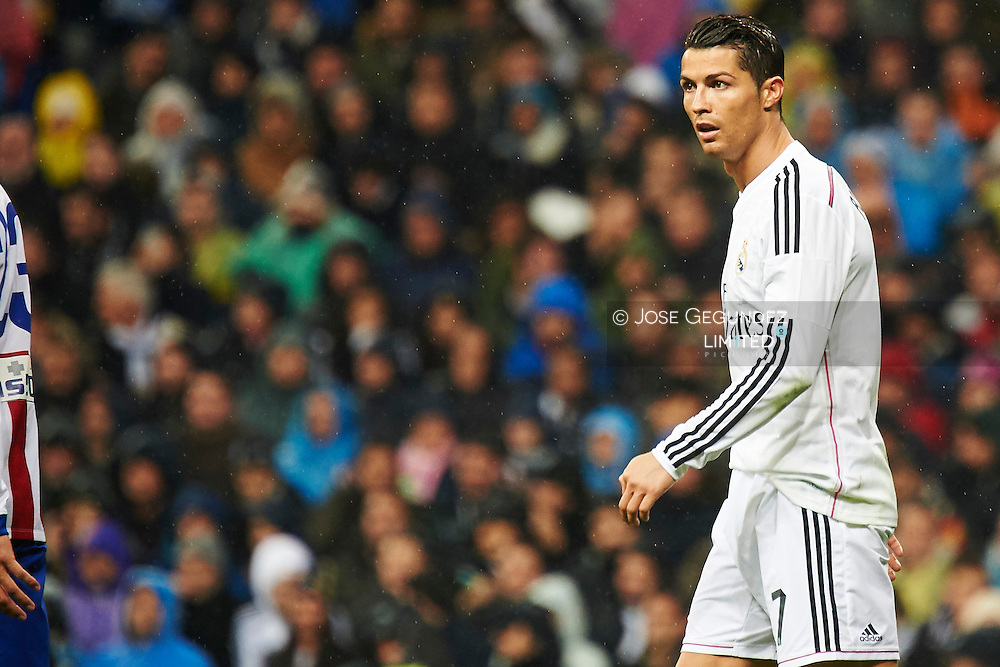 Cristiano Ronaldo during the Copa del Rey, round of 8 match between Real Madrid and Atletico de Madrid at Estadio Santiago Bernabeu on January 15, 2015 in Madrid, Spain.
