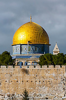 The Eastern Wall of the Temple Mount and the Old City with the Dome of the Rock behind, Jerusalem, Israel.