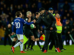 LIVERPOOL, ENGLAND - Sunday, March 3, 2019: Everton's manager Jürgen Klopp shakes hands with Everton's Bernard Anício Caldeira Duarte after the FA Premier League match between Everton FC and Liverpool FC, the 233rd Merseyside Derby, at Goodison Park. The game ended in a 0-0 draw. (Pic by Laura Malkin/Propaganda)