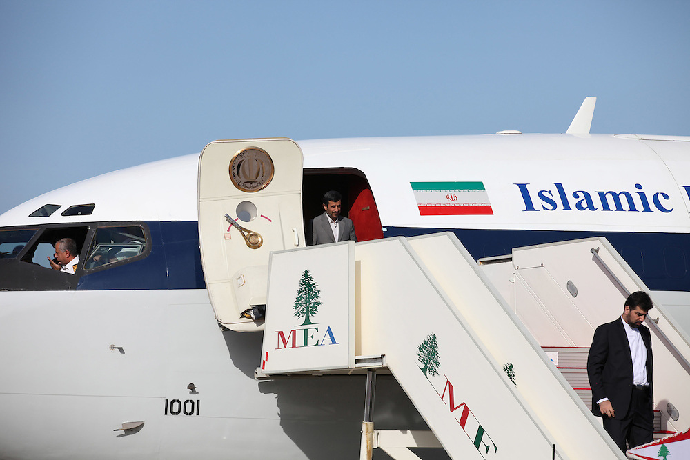 Iranian President Mahmoud Ahmadinejad arrives in Beirut.