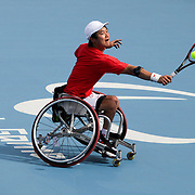 LONDON 2012 PARALYMPIC GAMES.. Pic shows Shingo Kunieda of Japan  who won  the men's Wheelchair Tennis gold medal  at the London 2012 Paralympic Games at Eton Manor
