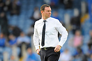 Plymouth Argyle manager Derek Adams before the Sky Bet League 2 play-off first leg match between Portsmouth and Plymouth Argyle at Fratton Park, Portsmouth, England on 12 May 2016. Photo by Graham Hunt.