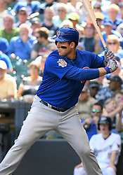 June 13, 2018 - Milwaukee, WI, U.S. - MILWAUKEE, WI - JUNE 13: Chicago Cubs First base Anthony Rizzo (44) at the plate during a MLB game between the Milwaukee Brewers and Chicago Cubs on June 13, 2018 at Miller Park in Milwaukee, WI. The Brewers defeated the Cubs 1-0.(Photo by Nick Wosika/Icon Sportswire) (Credit Image: © Nick Wosika/Icon SMI via ZUMA Press)