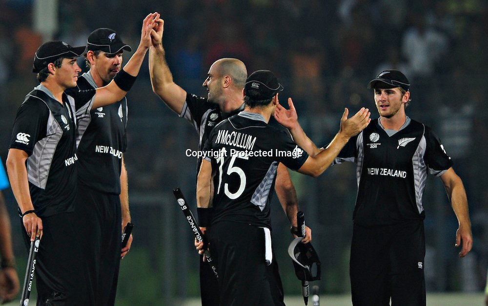 New Zealand celebrate the win and getting through to the Semi finals during the ICC Cricket World Cup quarter final match between South Africa and New Zealand held at the Shere Bangla National Stadium, Mirpur, Bangladesh on the 25 March 2011..Photo by SPORTZPICS