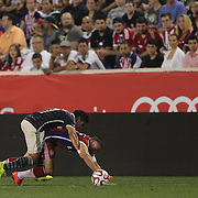 Franck Ribery, FC Bayern Munich, is fouled by Jesus Sanchez, Chivas, during the FC Bayern Munich vs Chivas Guadalajara, Audi Football Summit match at Red Bull Arena, New Jersey, USA. 31st July 2014. Photo Tim Clayton
