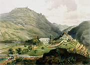 St Helena showing 'The Briars'. Lithograph after drawing by Lieutenant FR Stack from 'Souvenir of the Emperor Napoleon', London, 1851.