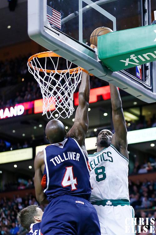 29 March 2013: Boston Celtics power forward Jeff Green (8) goes for the layup over Atlanta Hawks power forward Anthony Tolliver (4) during the Boston Celtics 118-107 victory over the Atlanta Hawks at the TD Garden, Boston, Massachusetts, USA.