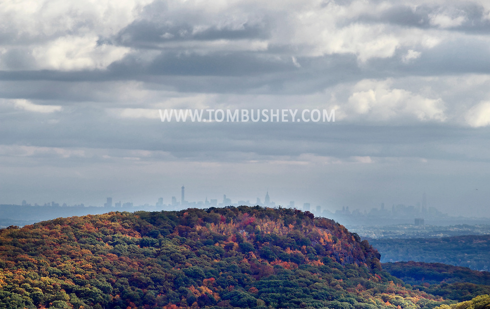 Bear Mountain, New York - The New York City skyline is visible in the distance in a view from the top of Bear Mountain on Oct. 2, 2014.