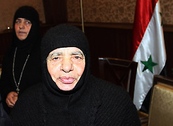61191306<br /> The 13 Syrian Greek Orthodox nuns, who were seized by rebels battling to overthrow the Syrian regime from their convent of Mar Takla in the village of Maloula, north of Damascus on Dec. 6, are seen upon arrival at Jdaidet Yabous on the Syrian-Lebanese borders on 10 March, 2014. The nuns, who were abducted along with their three maids, have been released earlier in the day. According to media reports, the nuns were at the beginning held in Yabrud city in the countryside of Damascus, but they were moved seven days ago to another safe place following the military offensive against Yabrud, Monday, 10th March 2014. Picture by  imago / i-Images<br /> UK ONLY