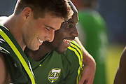 Sept. 15, 2012 - Portland, Oregon, US - Portland Timbers David Horst (7/shirtless) hugs Timbers Mamadou Danso (98/green) after the Timbers tied rivals Seattle Sounders Football Club 1-1. (Credit Image: © Ken Hawkins/ZUMAPRESS.com)